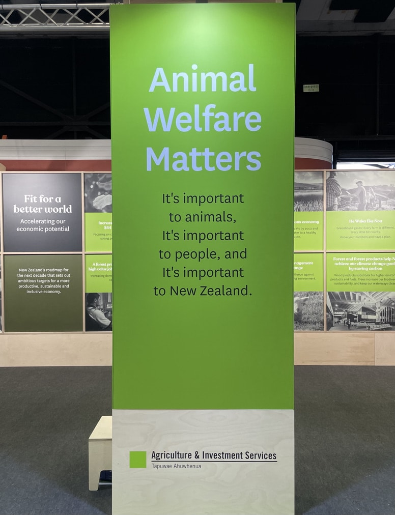 Sign. Animal Welfare in NZ Agriculture and Investment services