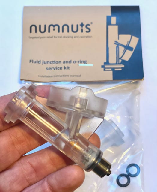 a spares kit Numnuts fluid junction in its packet with two replacement O rings